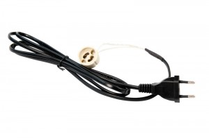 Tronix P-Cable Black | 2*0,75mm | 2 Meter | Euro plug + GU10 socket
