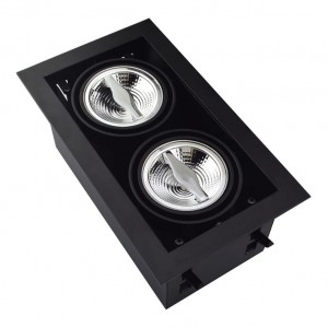 Recessed/Trimless fixture 2x AR70 | Full Black | Adjustable