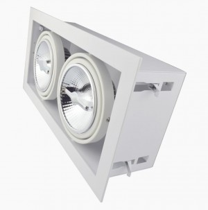 Recessed/Trimless fixture 2x AR111 | Full White | Adjustable