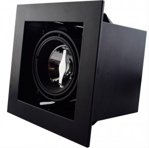 Recessed/Trimless fixture for 50mm | Full Black | Adjustable