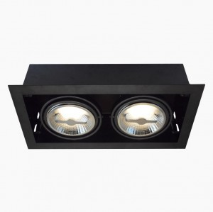 Recessed/Trimless fixture 2x AR111 | Full Black | Adjustable